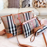 BURBERRY Fashion Women Shopping Leather Tote Handbag Shoulder Bag Purse Wallet Set Three-Piece