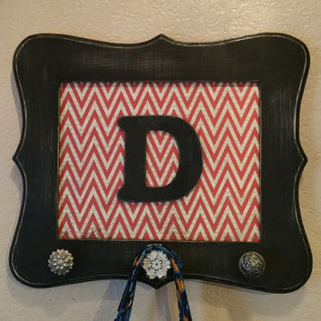 Personalized Coat Rack, Wall Hooks, Dorm Room Accessories, Dog Leash Holder, Black Whimsical Frame with Red Chevron, Antique Knobs