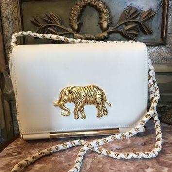 ELEPHANT Ivory Gold PURSE SHOULDER BAG NIMA