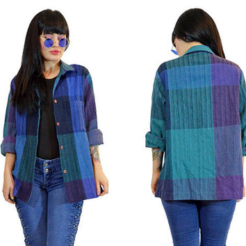 vintage 90s grunge plaid flannel pastel grunge blue teal purple chambray LINEN 1990s Seattle grunge  colorblock small