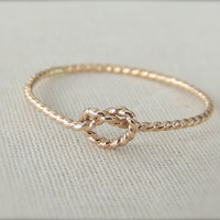 Twisted Love Knot Gold Ring, Memory Ring, Rope Ring, Twisted Rope Ring, Bridal Shower Gift, Bridesmaid ring, made to order