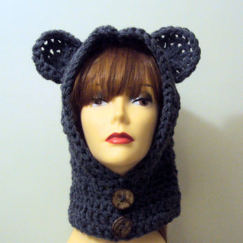 Women Crochet Bear Hat Hooded Cowl Scarf Hoodie Scoodie Charcoal Grey Winter Earwarmer Snowboard Hat Neckwarmer Child and Adult Size