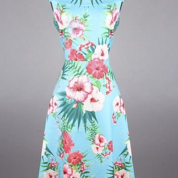 Best and Best's Retro Inspired Swing Dress with Fold Over Bardot Boat Neckline in Tropical Flower Print