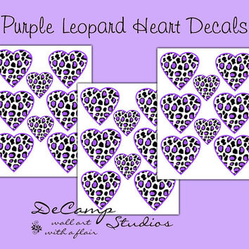 PURPLE LEOPARD DECAL Heart Teen Girls Safari Animal Print Wall Decor Baby Nursery Kids Room Childrens Jungle Bedroom Geometric Art Stickers
