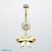 Golden Dainty Bow Tie Belly Button Ring