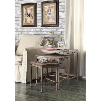 Set Of 3 Wooden Nesting Tables With Metal Base, Brown By Coaster