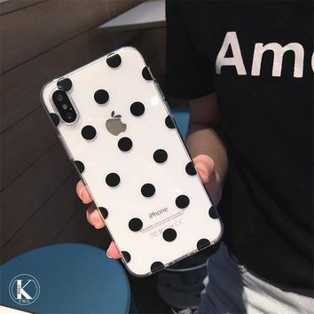Polka Dots Clear TPU iPhone Case