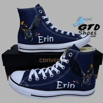 Hand Painted Converse. How to train your dragon 2, Bewilderbeast, Toothless, Hiccup. C
