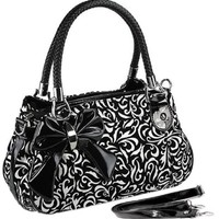 MG Collection Tweed Floral Bow Shoulder Bag, Black, One Size