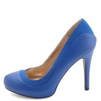 Qupid Textured Two-Tone Pumps by Charlotte Russe - Cobalt