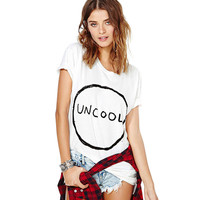 White Uncool Printed Short Sleeves Graphic Tee