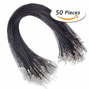 """50Pcs/set 18"""" Black Leather Braided Wax Cord Necklace with Lobster Clasps for DIY Jewelry Making #241339"""