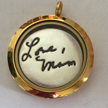 Handwriting Jewelry Locket for Mixed Metal Look - Choose from 3 colors - Ready to Ship