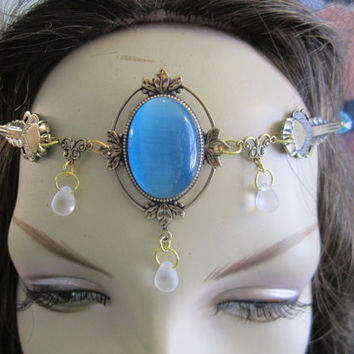 Aqua Circlet of the Mermaid Princess Celtic Druid LARP Bridal Renaissance Fairy Cosplay