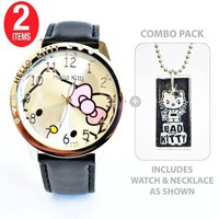 xxxHello Kitty Watch with Bad Kitty Glass Tile Pendant Necklace -- COMBO PACK