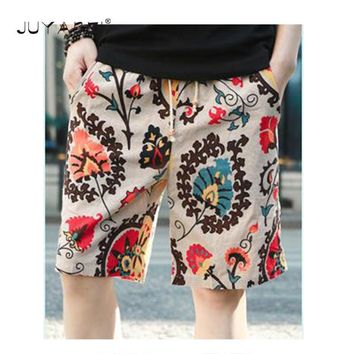 2018 Europe and The United States Burst Cotton Linen Men's Beach Pants Quick-drying Shorts Fashion Printing Pants