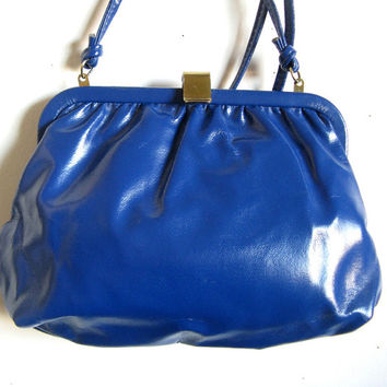Vintage Cabrelli 80s Handbag Royal Blue Faux Leather1980s Shoulder Purse