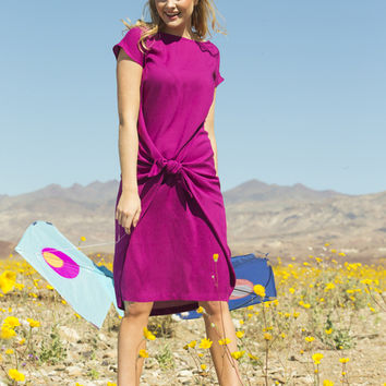 Addie Rayon Tie Dress Raspberry