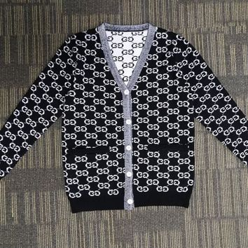 GUCCI Popular Women Print Long Sleeve Button Knit Pocket Cardigan Jacket Coat Black