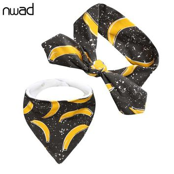 NWAD Bowknot Haarband Baby+Triangle Baby Bibs 2pcs Set Baby Accessories Newborn Cotton Bandana Bibs Baby Hair Band Pattern FS026