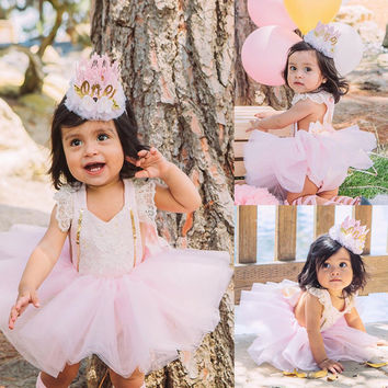 Cute Newborn Baby Girl Clothes Princess Toddler Kids Lace Romper Bodysuit Sunsuit + Tutu Tulle Bow Skirt 2PCS Outfit Clothing