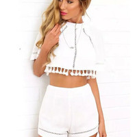 Short Sleeve Fringed Back Slit Cropped Top Shorts Set