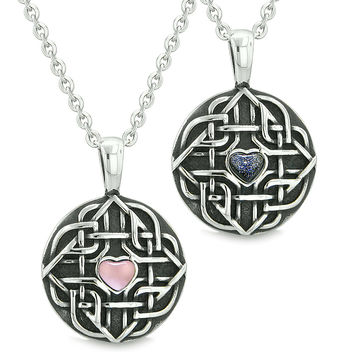 Amulets Love Couple Best Friends Celtic Shield Knot Magic Heart Pink Cats Eye Blue Goldstone Necklaces