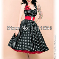 1950s Retro Rockabilly Polka Dot Swing Dress