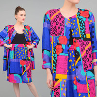 80s Suit Colorful Artsy Abstract Print 1980s Oversize Jacket High Waist Knee Length Skirt Two Piece Set Medium Large M L