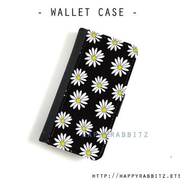Black Daisy leather iphone 5 wallet case , iphone 5c wallet case , iphone 5s case , iphone 5 case , iphone 5c case cover