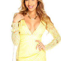 Yellow Deep V Neck Floral Lace Over Lay Long Sleeve Asymmetrical Sexy Party Dress