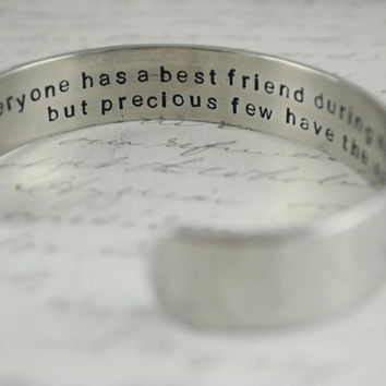 "Best Friend Gift ""Friends are Angels who Lift us Up when our Wings forget how to Fly Secret Message Hand Stamped Bracelet- Personalized"