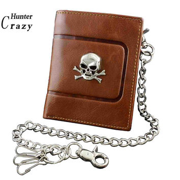 Skull Punk Biker Leather Chain Wallet For mens Boys Brown