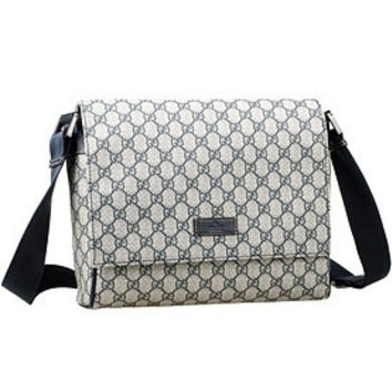Gucci Monogram Canvas Messenger Flap Bag Navy