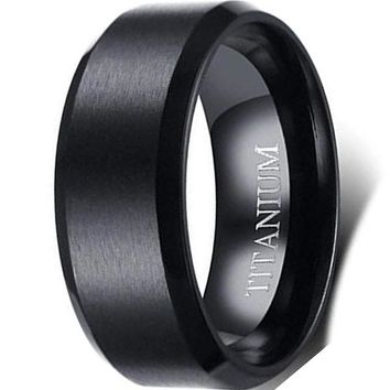 CERTIFIED 8mm Brushed Matte Black Titanium Classical Simple Plain Ring Wedding Band