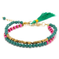 Tassel Me This Teal Beaded Bracelet