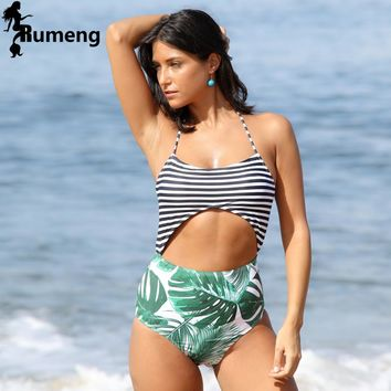 RUMENG One Pieces Stripe High Waist Bandage Swimwear Women Sexy 2018 Beachwear Bathing Suits