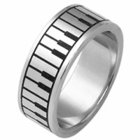 Stainless Steel Ring with Piano Design- Size 6 Wide 8 Mm