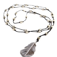 Silver Feather Pendant Necklace