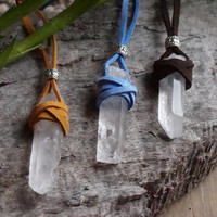 Healing Quartz Crystal Necklace // Suede Necklace // Quartz Necklace // Boho Jewelry // Bohemian Necklace // Tan Suede // Wrapped Quartz