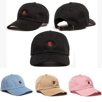 ESBONJ The Hundreds Rose Embroidered Hat Baseball Cap Fashion Unique Adjustable Embroidered Rose Hats
