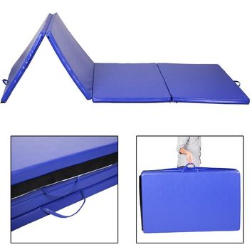 "4'x8'x2"" Gymnastics Mat Gym Folding Exercise Mats Stretching Yoga Blue"