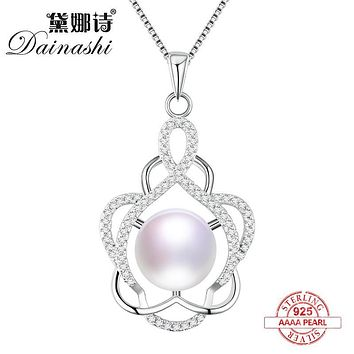 Dainashi 925 sterling silver real pearl pendant fine jewelry Shiny flower noble pearl necklace for party or wedding