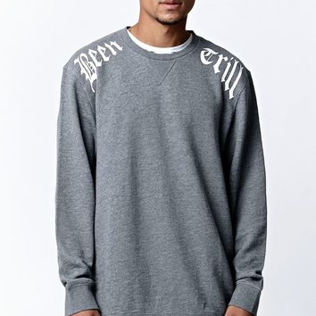 Been Trill ## Side Zip Printed Crew Neck Sweatshirt - Mens Hoodie - Gray