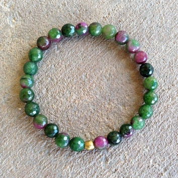 "Faceted Watermelon Tourmaline ""wisdom"" bracelet"