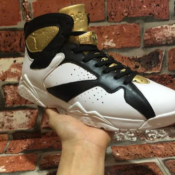 Nike Air Jordan 7 Retro   Champagne Metallic Gold Black Basketball Sneaker