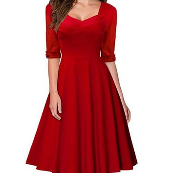Red Sweetheart Ruched Flare Midi Dress