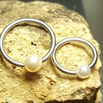 Septum Nipple Cartilage Jewelry Captive Hoop Swarovski Pearl Beads 14g 16g 18g  Piercing Surgical Steel Earring Ring Nose Lip Eyebrow Tragus