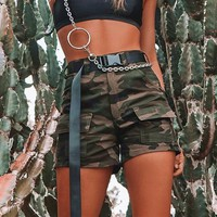 Camo High Waist Buckle Shorts