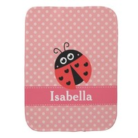 Cute Ladybug, Polka Dots, for Sweet Baby Girls Burp Cloths